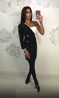 Платье-пиджак на одно плече