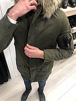 Парка мужская цвета хаки с отстегивающимся мехом на капюшоне, фото 2