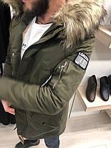 Парка мужская цвета хаки с отстегивающимся мехом на капюшоне, фото 3