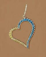 """Серебряный кулон """"Сердце"""" желто-голубые камни, фото 1"""