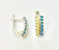 Серьги желто-голубые камни серебряные женские