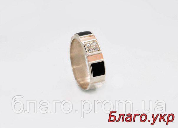 """Мужское кольцо """"Леон"""" серебряное со вставками золота"""