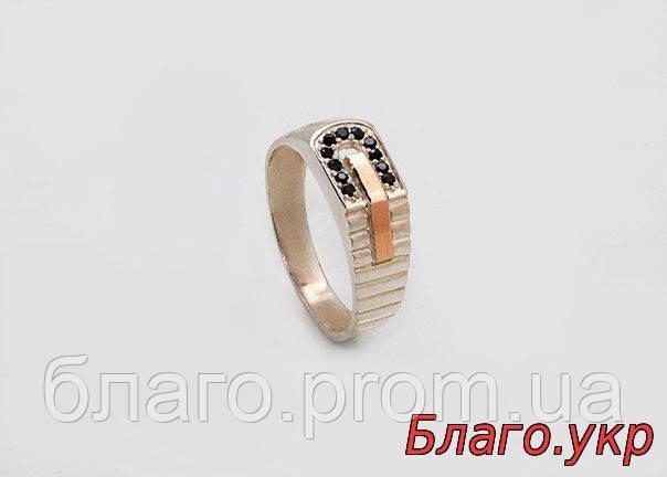 """Мужское кольцо печатка """"Консул"""" серебро с золотом"""