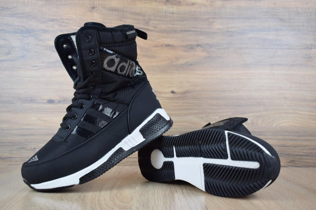 Сапоги женские Adidas зимние теплые высокие повседневные удобные спортивные адидасы  (черные), ТОП-реплика