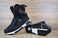 Сапоги женские Adidas зимние теплые высокие повседневные удобные спортивные адидасы  (черные), ТОП-реплика, фото 1