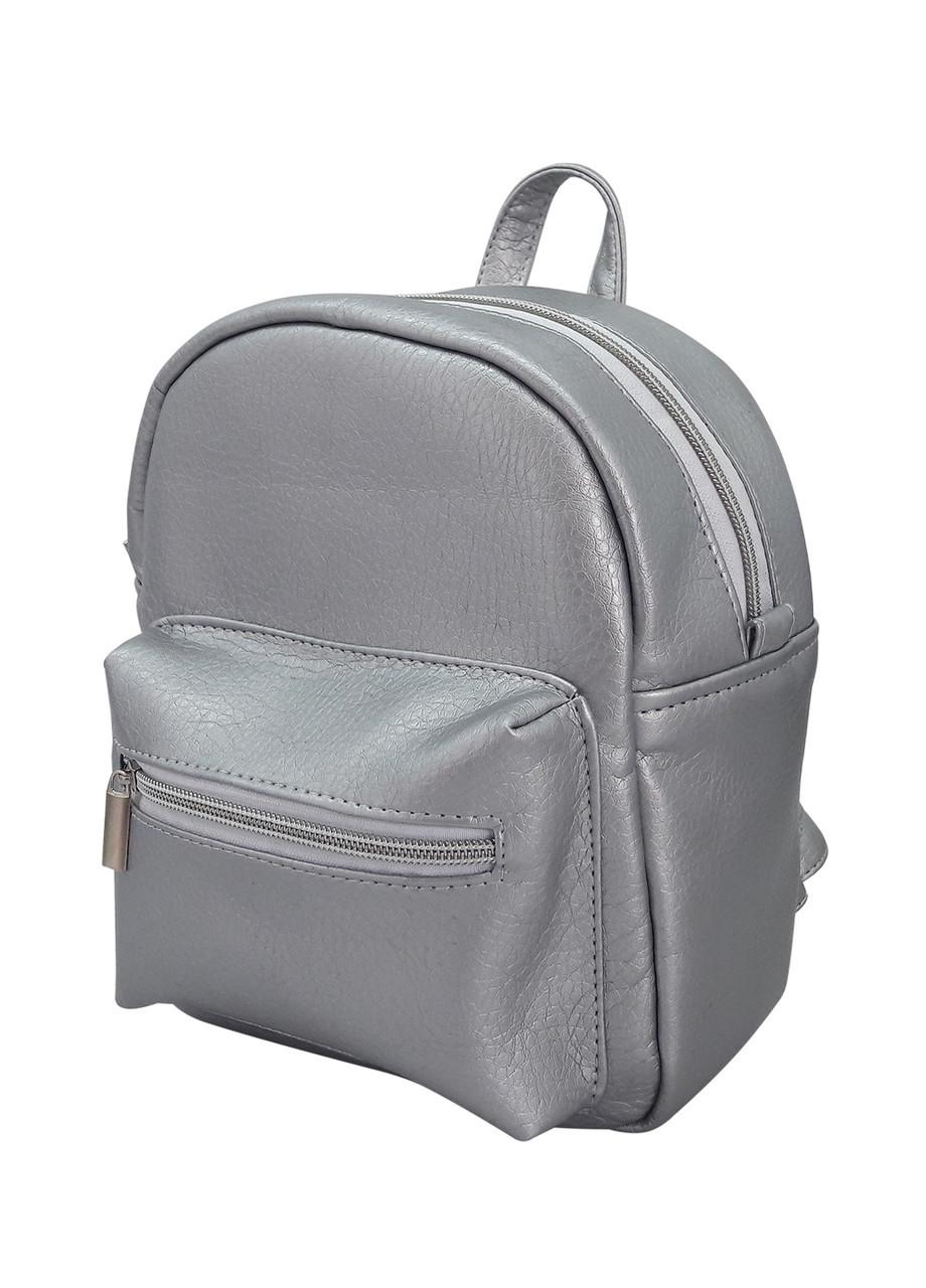 Женский стильный рюкзак Sambag Самбег серебристый разные размеры 11119003