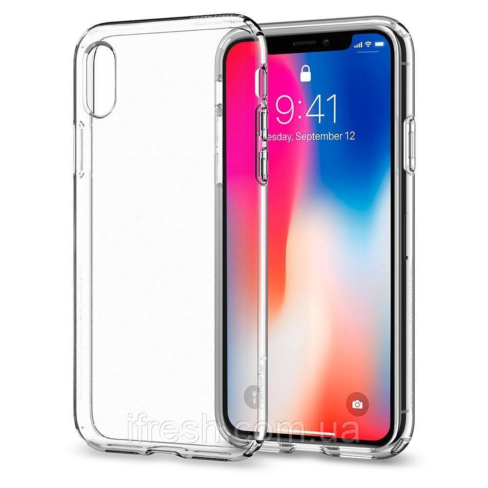 Чехол Spigen для iPhone X Liquid Crystal, Crystal Clear