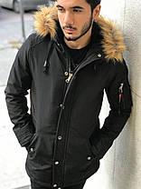 Мужская зимняя парка черного цвета с рыжим мехом на капюшоне, фото 2