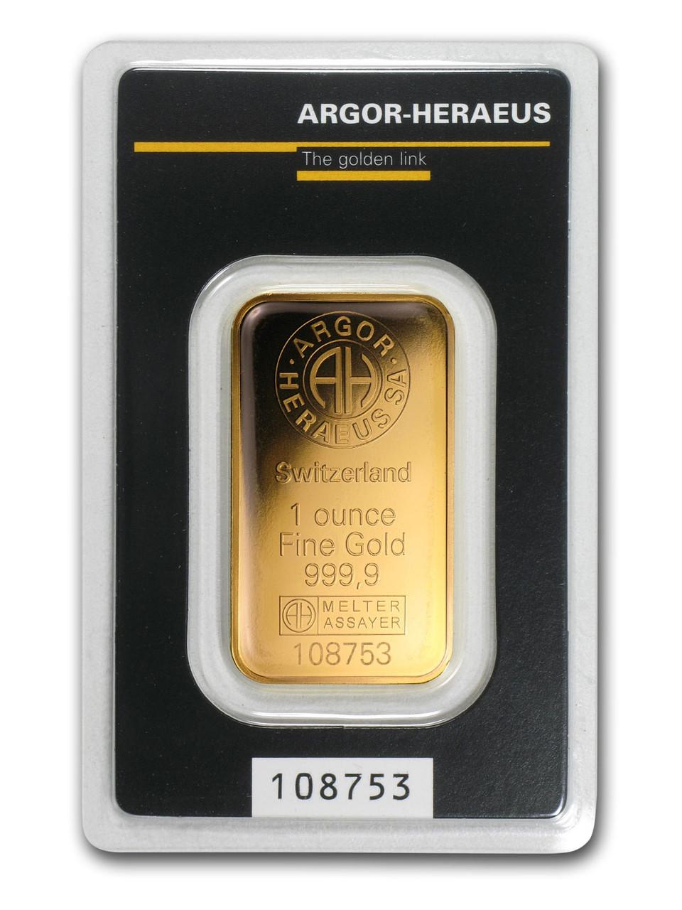 Слиток Золото 1 тройская унция грамм Argor-Heraeus (НОВЫЙ)