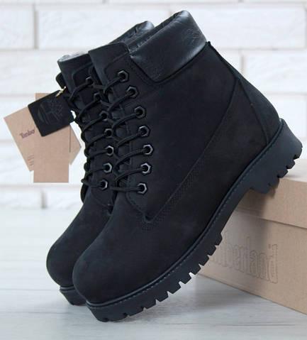 Зимние женские ботинки Timberland 6 inch black с натуральным мехом (Реплика  ААА+) 1883f5c8151