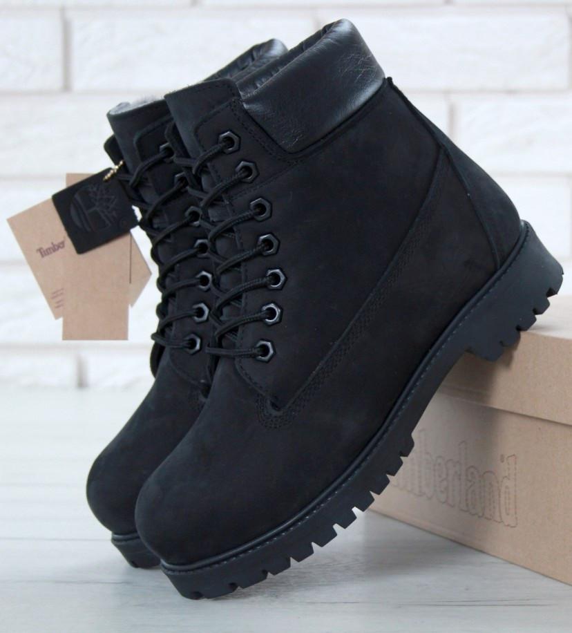 5463b7f4bc07 Зимние женские ботинки Timberland 6 inch black с натуральным мехом (Реплика  ААА+)