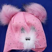 Зимние шапки для девочек  Мордашка  на 1- 2 года размер 44- 46, фото 1