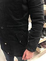 Мужская зимняя парка черного цвета с длинным мехом , фото 3