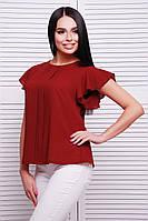 f708da16361 Легкая шифоновая блуза бордового цвета с планкой и рукавами-крыльями