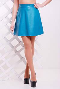 Бирюзовая женская мини юбка-трапеция с кармашками кожзам