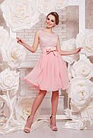Летнее Коктейльное платье цвета персик сукня Настасья б/р
