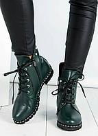Ботинки женские  с жемчугом зеленые, фото 1