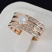 Необыкновенное тройное кольцо с кристаллами Swarovski, покрытое золотом 0193