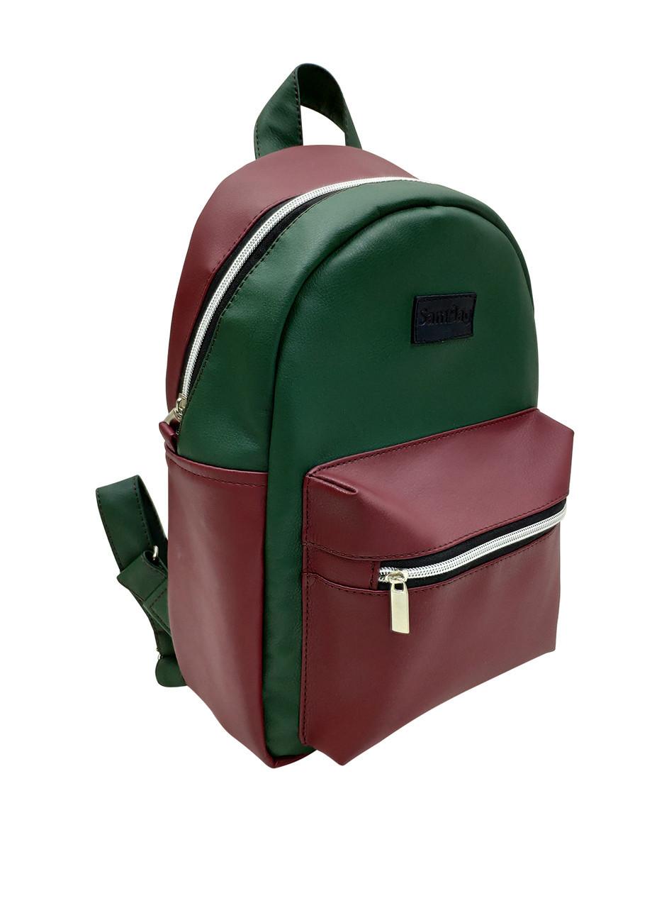 Женский рюкзак SamBag бордовый с зеленым разные размеры 12314610
