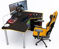 Геймерский стол Zeus IGROK-TOR (черный/желтый), фото 1
