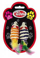 Игрушка для кошек Мышки плетёнки Pet Nova 7х3 см