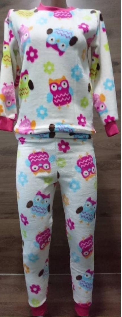 Теплая пижама для девочки подростка с ярким рисунком Совы 38-42 р, подростковые пижамы оптом от производителя