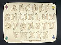 Деревянная азбука под декупаж. Краски+кисть. 36х49см. Английская.