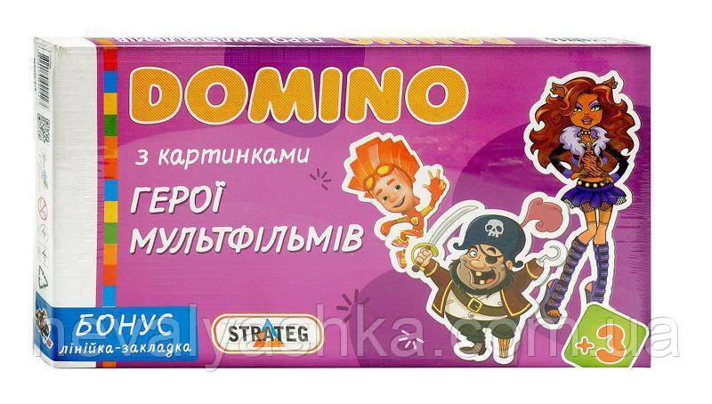 Настольная Игра Домино детское с картинками Мультики, Стратег STRATEG 679, 009768