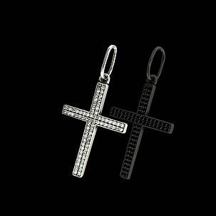 Срібний хрестик з різнокольоровими фіанітами, фото 2
