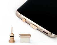 Комплект заглушек в разъем для наушников 3,5 мм и Type С для Android, MacBook, Gold