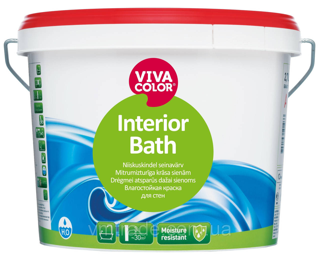 Краска Vivacolor Interior Bath, 9 л