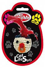 Игрушка для кошек Плетённая голова с перьями Pet Nova 5 см