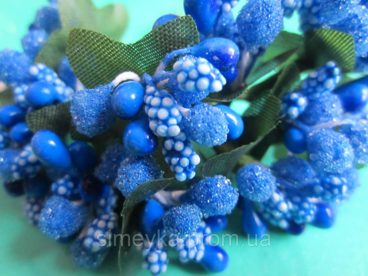 """Додаток к цветам """"рис"""" или """"шишечки"""" синие с зелёными листиками, букетик из 11 соцветий, длина проволоки 7 см"""
