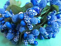 """Додаток к цветам """"рис"""" или """"шишечки"""" синие с зелёными листиками, букетик из 11 соцветий, длина проволоки 7 см, фото 1"""