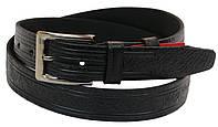 Мужской кожаный ремень под брюки Skipper 1000-35 черный ДхШ: 127х3,5 см.