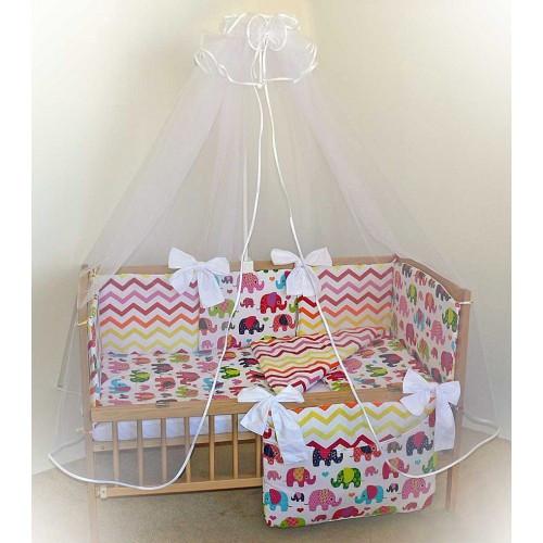 Набор постельного белья в детскую кроватку из 7 предметов Слоники красный