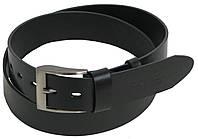Качественный мужской кожаный ремень ROV-1-96588 черный ДхШ: 112-127х4 см.