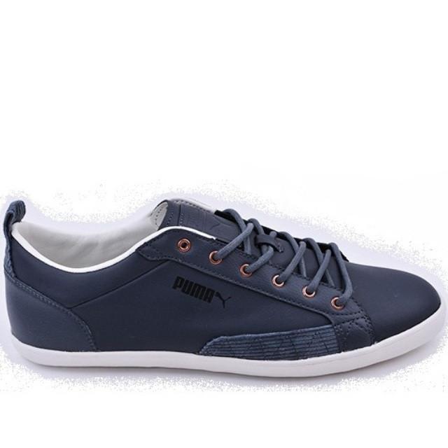 Кеды-кроссовки мужские Puma slim court 357197 01 (темно-серые, кожаные, повседневные, закрытые, бренд пума)