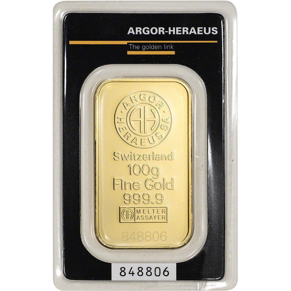Слиток золота 100 грамм Argor-Heraeus (НОВЫЙ)