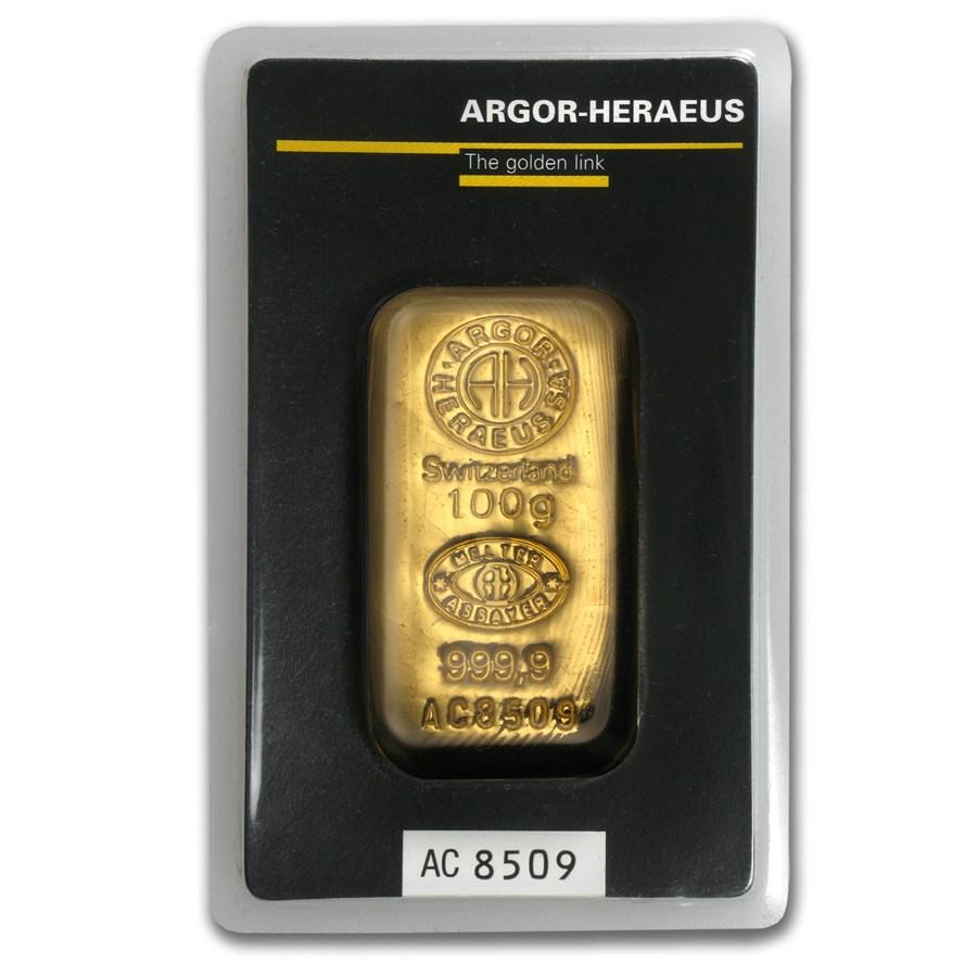 Слиток золота 100 грамм Летой Argor-Heraeus