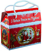 Картонная упаковка с дополненной реальностью, Саквояж новогодний Ретро, 16,5х8,5х15см