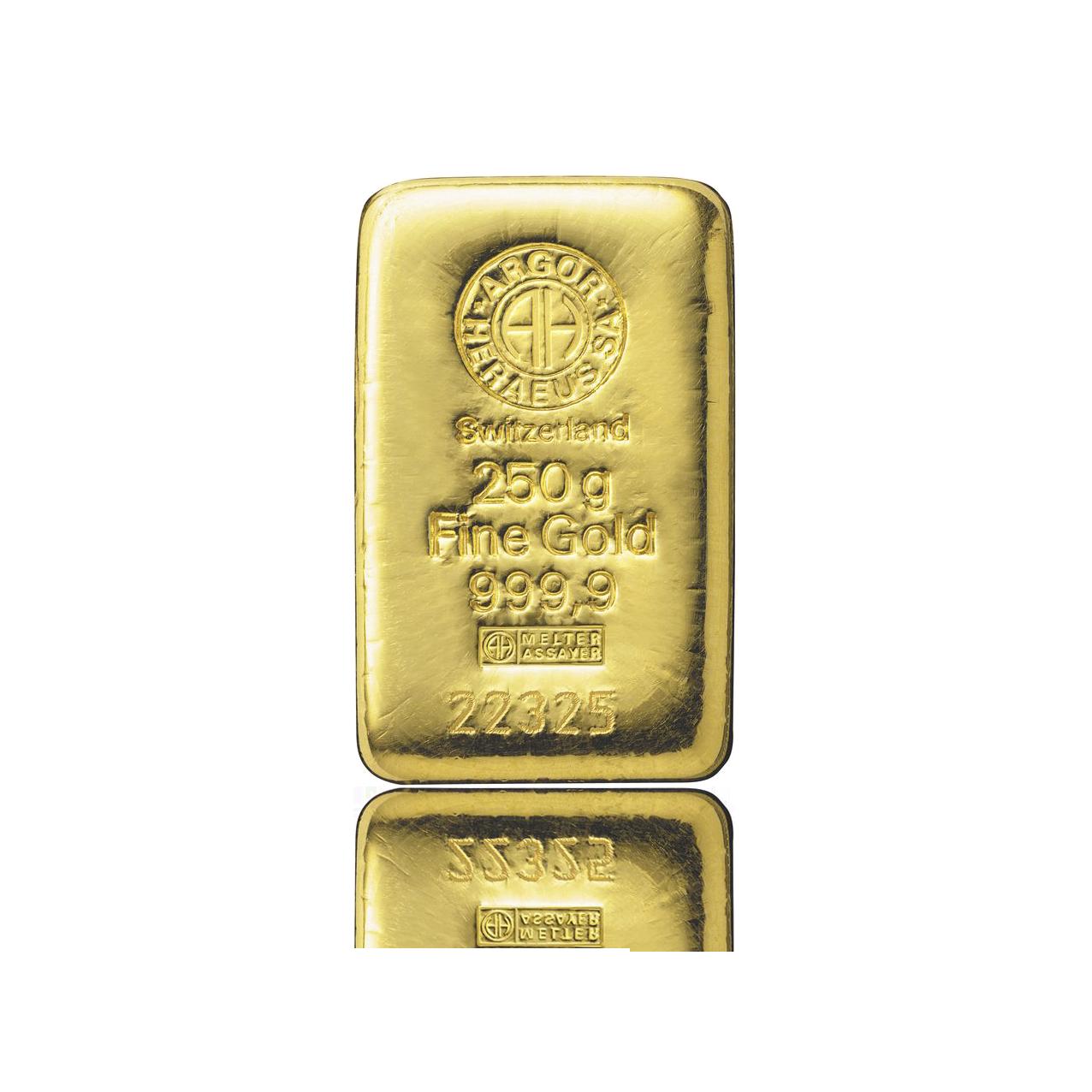 Слиток золота 250 грамм Летой Argor-Heraeus (НОВЫЙ)