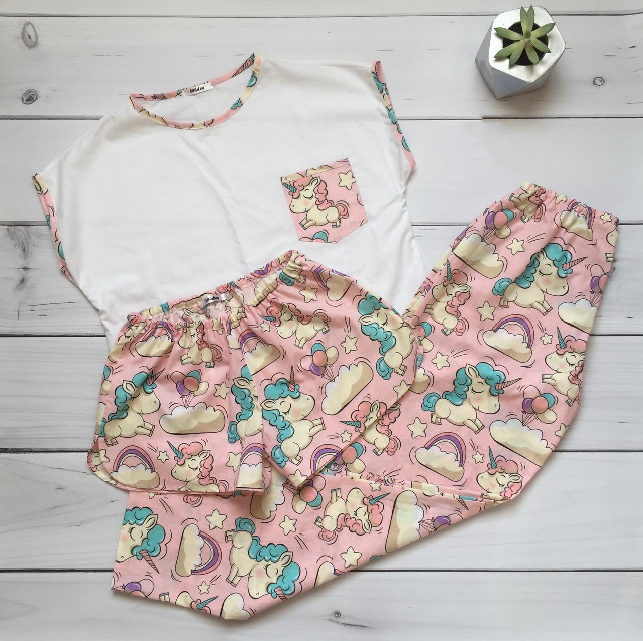 Пижама женская (Штаны и футболка) Единороги, хлопок