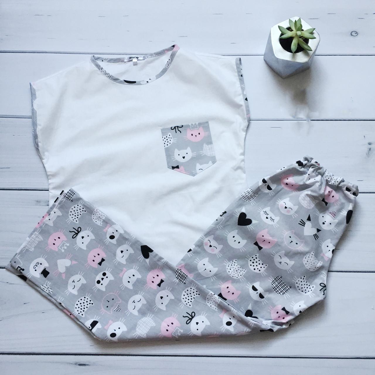 Пижама женская (Штаны и футболка) Кошки, хлопок