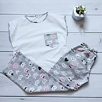 Пижама женская (Штаны и футболка) Кошки, хлопок, фото 1