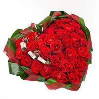 Корзина цветов в виде сердца «Валентинка - 29 роз», фото 1