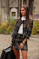 Костюм из твида женский стильный модный пиджак и мини юбка в клетку разные расцветки Kld1002, фото 1
