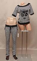 Спортивный костюм  женский Турция черно-белый оригинальный дизайн стильный молодёжный 2 - ка реглан норма