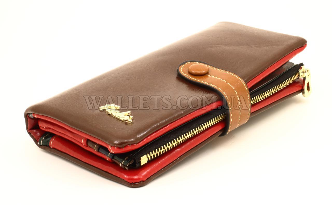 Женский кошелек Kochi, кожзам, книжечка, коричневый, разноцветный.