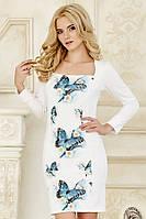b4a54032709 Оригинальное женское белое платье с длинным рукавом с принтом по полочке  Бабочки